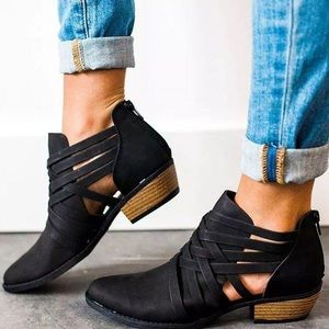 Shoes - Crisscross Ankle Booties in Black